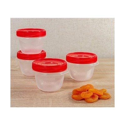 Rubbermaid TakeAlongs Twist & Seal Food Storage Containers, 1.2 Cup, Tint Chili, 4 Count【並行輸入品】