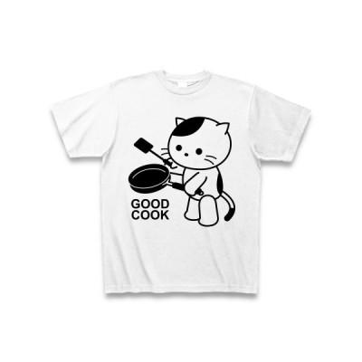 「料理上手」ねこ Tシャツ(ホワイト)