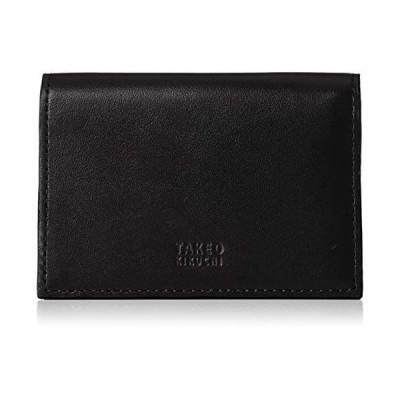 [タケオキクチ] 名刺入れ メンズ カード定期入れ 二つ折り TKW0060220 ブラック