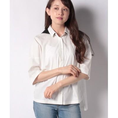 (COMME CA ISM/コムサイズムレディス)フード付き 五分袖シャツ/レディース ブラック