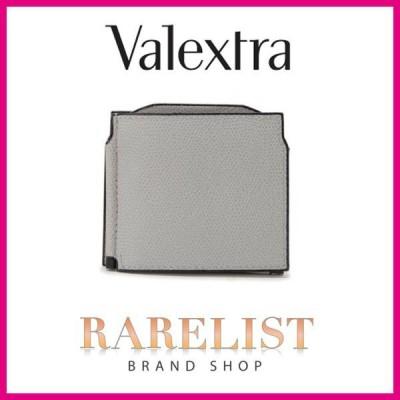ヴァレクストラ VALEXTRA 財布 小財布 二つ折り 2つ折り ダブル マネークリップ ビルクリップ 新作 アッシュグレー グレー レザー 本革