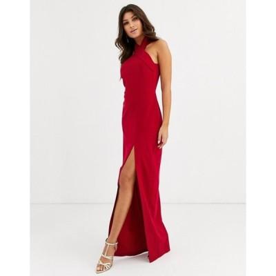 ベスパー レディース ワンピース トップス Vesper high neck maxi dress with thigh split in red