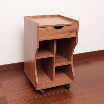 オスマック 木製ベッドサイドワゴン 幅30cm ブラウン ナイトテーブル サイドテーブル キャスター付 小物 収納