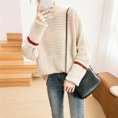 リブニット セーター ハイネック 韓国 大きいサイズ 袖  おでかけ デート おしゃれ i920