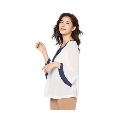 ナラ カミーチェ 配色リボン付シフォンプルオーバーブラウス 10-91-02-331 レディース ホワイト 日本 M (日本サイズ9 号相当