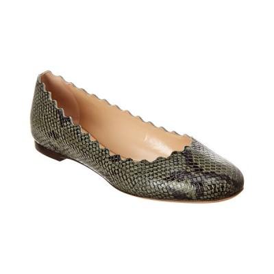 クロエ サンダル シューズ レディース Chlo Lauren Scalloped Snake-Embossed Leather Ballerina Flat -