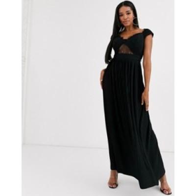 エイソス レディース ワンピース トップス ASOS DESIGN Fuller Bust premium lace and pleat bardot maxi dress Black