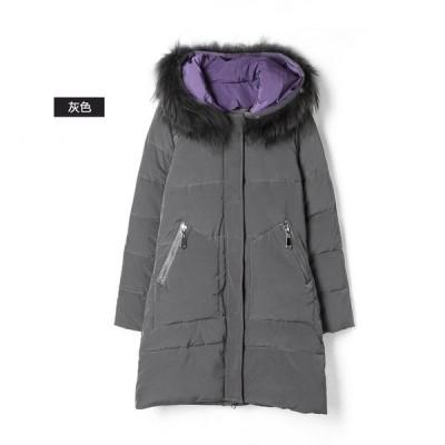 アウター レディース 冬 ダウン コート ジャケット ファー付き フーディ ブラック グレー 黒  送料無料