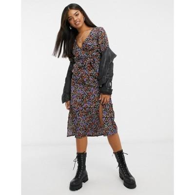 インフルエンス レディース ワンピース トップス Influence wrap-front midi dress with slit in floral print