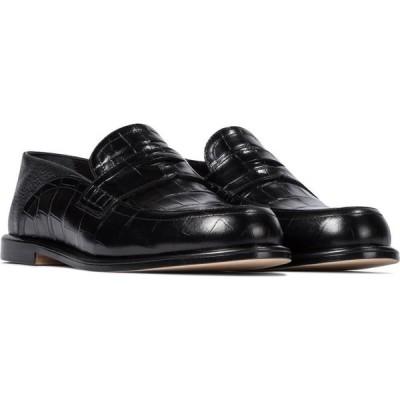 ロエベ Loewe レディース ローファー・オックスフォード クロコダイル柄 シューズ・靴 slip-on croc-effect leather loafers Black/Black
