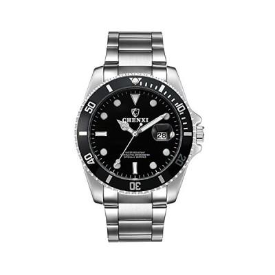 メンズ 回転式ベゼル ブルーダイヤル 夜光 腕時計 ゴールドステンレススチールバンド 防水 アナログクォーツ腕時計 シルバーブラック