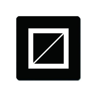家紋捺印マット 白紋黒地 升 11cm x 11cm KN11-1878W