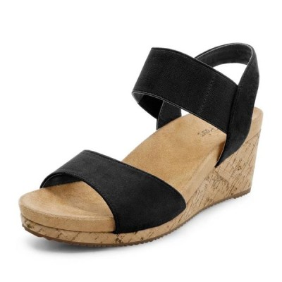 レディース 靴 サンダル Dream Pairs Women's NINI-7 Black Platform Wedge Sandals Size 5 B(M) US