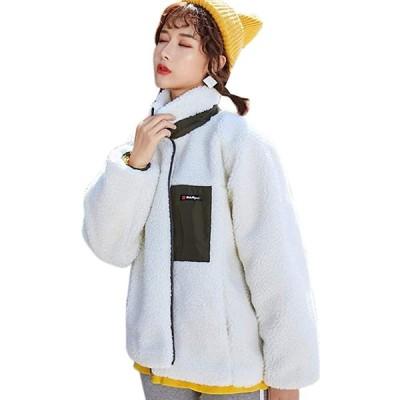 ボアジャケット レディース ボアブルゾン フリース コート もこもこ フワフワ アウター 秋冬 スタンドコラー (s2012250714)