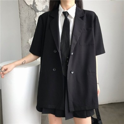 トップス アウター ジャケット 半袖 ダブル ロング ポケット ブラック ストリート レディース ファッション  ダンス 衣装 ヒップホップ 原宿系 韓国系