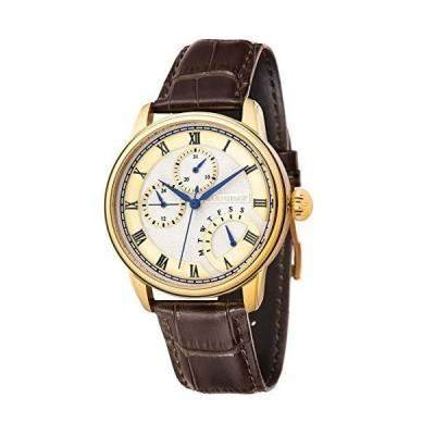 Thomas Earnshaw メンズ Longitude 42mm ブラウンレザ-バンド ゴ-ルドメッキケ-ス クォ-ツアナログ腕時計 ES-810