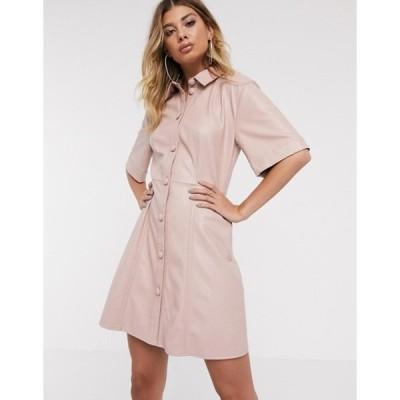 エイソス レディース ワンピース トップス ASOS DESIGN leather look mini button through shirt dress