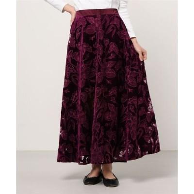 スカート オパール刺繍ベロアロングスカート