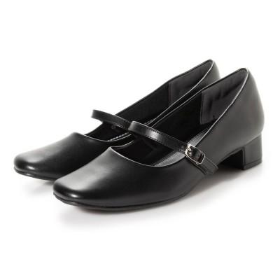 マフモフ Mafmof DulcisRegalo(ドルキスレガロ) 足が痛くならないストラップ付きリクルート パンプス (3.5cmヒール) (ブラック)