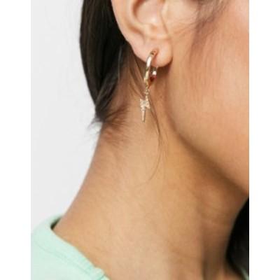 エイソス レディース ピアス・イヤリング アクセサリー ASOS DESIGN hoop earrings with lightning bolt charm in gold tone Gold