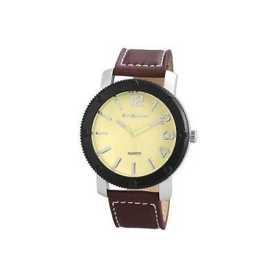 ジュエリー 腕時計 エクセランク メンズ 腕時計, Excellanc, イエロー シルバー ブラウン faux レザー ストラップ 75-144