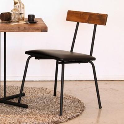 ダイニングチェア 座面高43cm ダイニング 椅子 木製 天然木 スチール脚 レザー調 チェア ヴィンテージ調 ( ダイニングチェアー イス 食