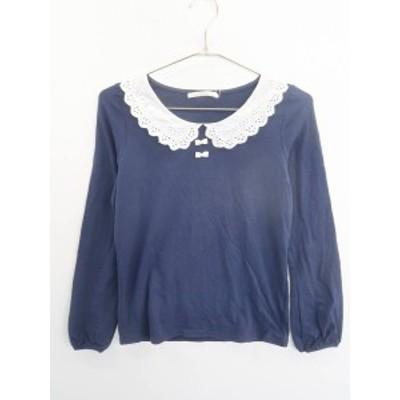 OLIVE des OLIVE(オリーブデオリーブ)レース襟付リボンカットソー 長袖 紺/白 レディース 新品 M