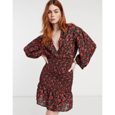 エイソス レディース ワンピース トップス ASOS DESIGN plunge shirred mini dress with shoulder tucks in poppy floral print Poppy fl