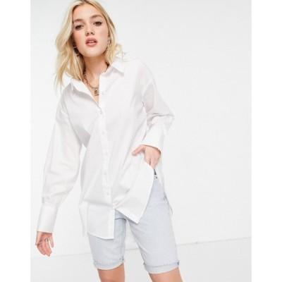 ジェイディーワイ JDY レディース ブラウス・シャツ ロング トップス longline shirt in white ホワイト