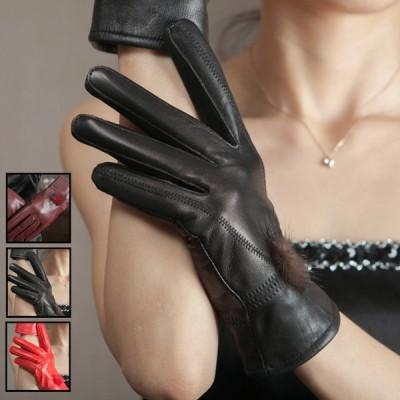 本革手袋 レディース グローブ レザーグローブ レザー手袋 裏起毛  glove バイク手袋 バイクグローブ レーシンググローブ