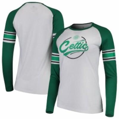 Levelwear レベルウェア スポーツ用品  Levelwear Celtic Womens White/Green Rookie Rounder Raglan Long Sleeve T-Shirt