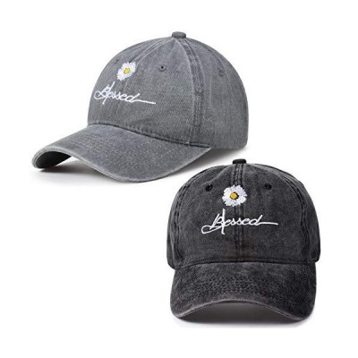 2 Pieces Adjustable Distressed Blessed Hat Vintage Washed Baseball Cap Dais
