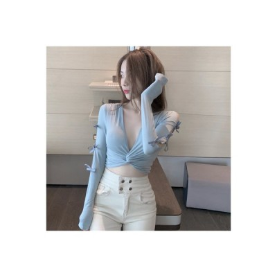 【送料無料】小 心 機 襟 長袖Tシャツ 女 秋 年 ネット レッド 超人気 ボトム | 346770_A63608-2876759
