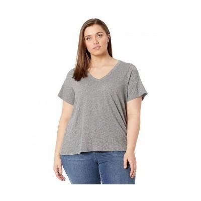 Madewell レディース 女性用 ファッション Tシャツ Plus Whisper Cotton V-Neck Tee - Heather Iron