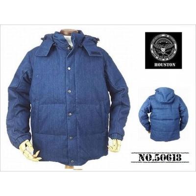 【送料無料 50%OFF 】HOUSTON  ヒューストン  デニム DOWNジャケット    NO.50618   BLUE_Lサイズ