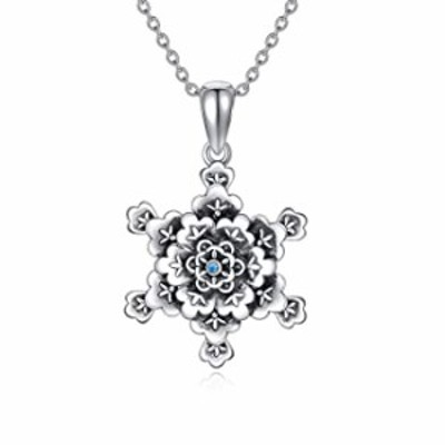 """Snowflake Necklace Sterling Silver Necklace for Women, 18""""+2"""""""