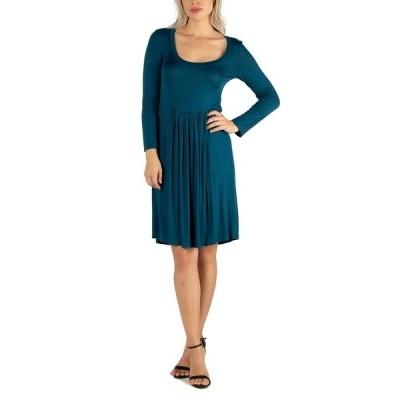 24セブンコンフォート ワンピース トップス レディース Women's Knee Length Pleated Long Sleeve Dress Indigo