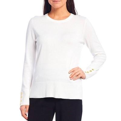 インベストメンツ レディース Tシャツ トップス Petite Size Long Sleeve Button Cuff Crew Neck Sweater