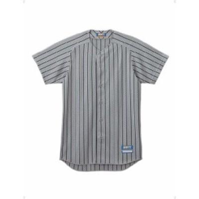 ゼット 野球 ソフト ユニフォーム用ストライプメッシュシャツ 16SS シルバー/ネイビー ヤキュウユニホーム(bu521-1329)