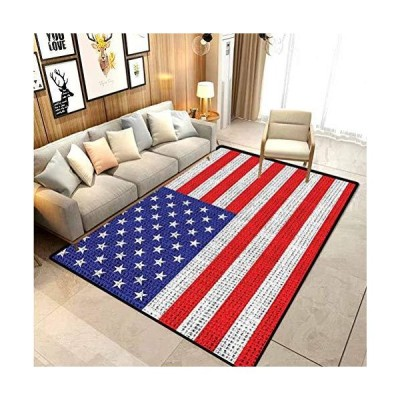 American Flag USA Rustic outdoor rugs for patios kitchen rugs and mats Burlap Looking and Ancient Retro Vintage Country Symbol Flag Picture