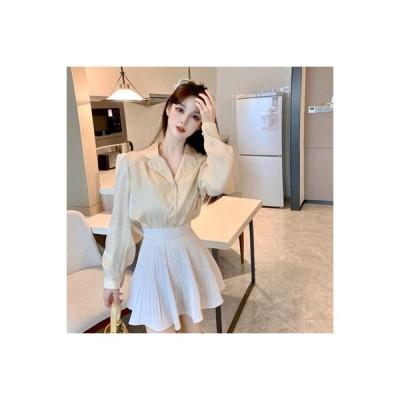【送料無料】ビーズ飾り ラペル シングル列ボタン 長袖シャツ 女 秋 韓国風 単一色 | 364331_A63814-9770731
