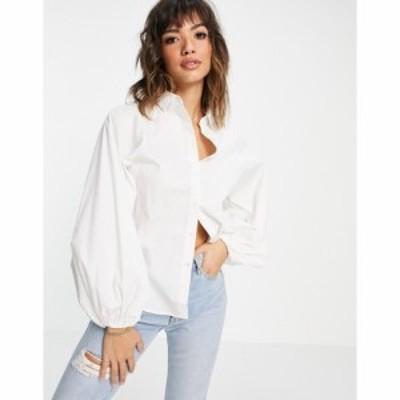 エイソス ASOS DESIGN レディース ブラウス・シャツ トップス long volume sleeve shirt in cotton white ホワイト