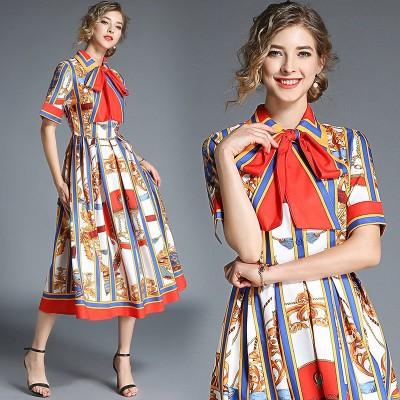 スカーフ柄レトロワンピース リボン 北欧風 ドレス 二次会 パーティー 大きいサイズ レディース 韓国新作