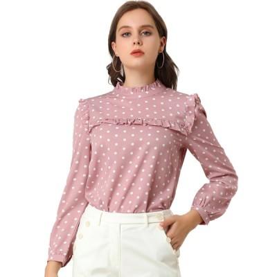 uxcell Allegra K フリルブラウス 水玉 長袖 トップス シャツ 背中ボウタイ リボン かわいい レディース ピンク XS