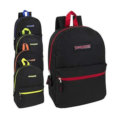 24 Pack- Classic 17 Inch Backpacks in Bulk Wholesale Back Packs for Boys and Girls (Black Color Trim Pack) 並行輸入品