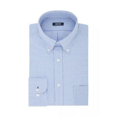 アイゾッド シャツ トップス メンズ Big & Tall All-Over Checkered Print Stretch Shirt Blue