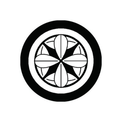 家紋シール 白紋黒地 丸十二枚笹 布タイプ 直径40mm 6枚セット NS4-0844W