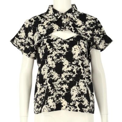 LATINA ペイント柄スーパーショートシャツ×キャミソールセット(ブラック)