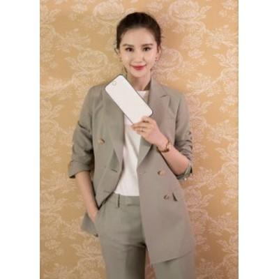 韓国 ファッション レディース セットアップ パンツスーツ テーラードジャケット テーラードパンツ ベージュ ゆったり 2点セット 上下セ