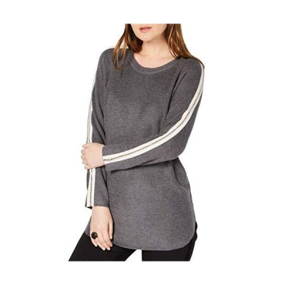 I-N-C Womens Embellished Varsity Striped Pullover Sweater, Grey, Medium並行輸入